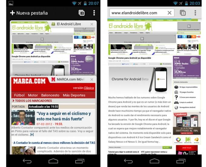 Интерфейс Chrome для Android