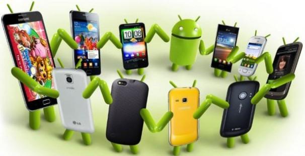 анимационный андроид и модели смартфонов танцуют в кругу
