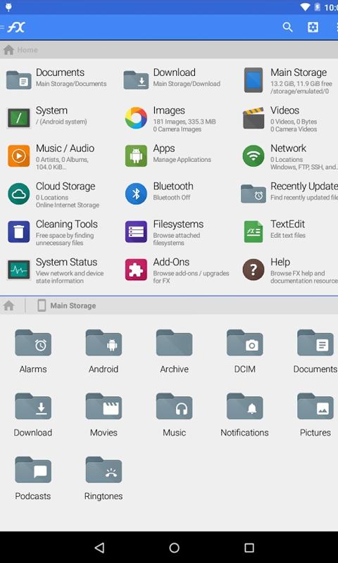 Интерфейс FX File Explorer